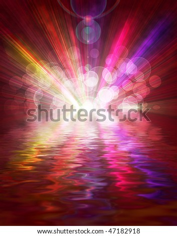 light colored spotlights on a dark background with reflection in water - stock photo