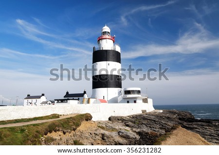 Lighthouse at Hook Head, County Wexford, Ireland - stock photo