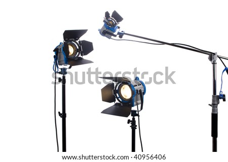 Lighting equipment Three lamps lit, Isolated on white. - stock photo
