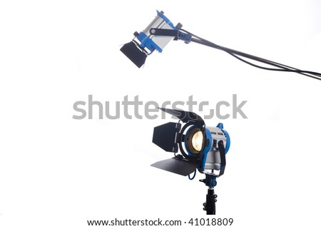 Lighting equipment two lamps lit, Isolated on white. - stock photo