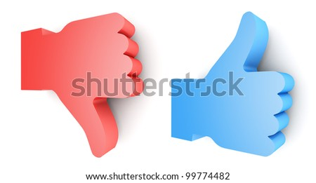 """""""Like"""" and """"Unlike"""" buttons 3d render on white background - stock photo"""