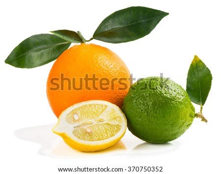Lime, orange and half of lemon isolated on white background