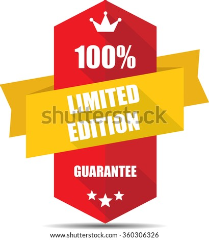 100% limited edition red Label, Sticker, Tag, Sign And Icon Banner Business Concept, Design Modern With Crown. - stock photo