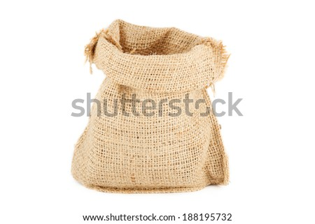 ? linen sack from natural raw material - stock photo
