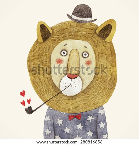 lion in hat and with a pipe drawing. Children's illustration - stock photo