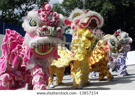 3 lions dance - stock photo