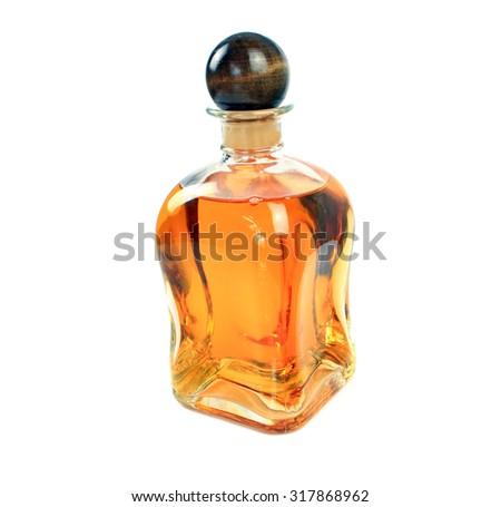 liqueur bottle on white background - stock photo