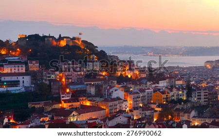 Lisbon Old Town and Castle on a top of the hill. Portugal - stock photo