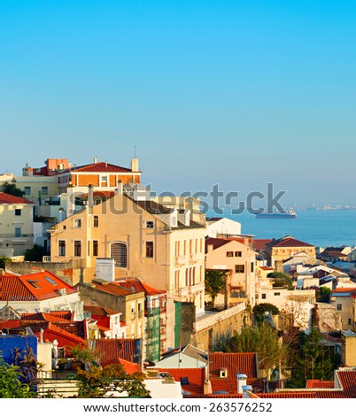 Lisbon Old Town and Tagus river. Portugal - stock photo