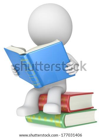 Literature. Dude sitting on Books, Reading. - stock photo