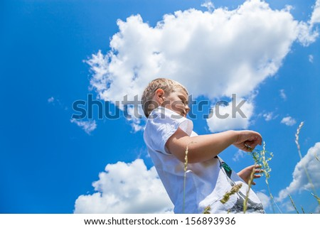 little boy walking outdoors in a sunny day under the blue sky - stock photo