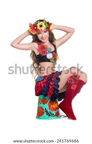little girl dancer clothes in ukrainian national traditional costume