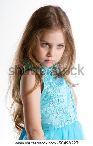 Little Girl, looking sad, punished. - stock photo