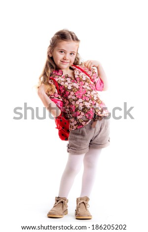 little girl with  backpack, school, learning, knowledge, isolated on white background - stock photo