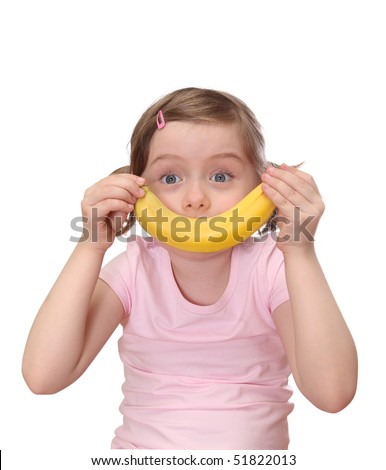 Little girl with banana isolated on white background - stock photo