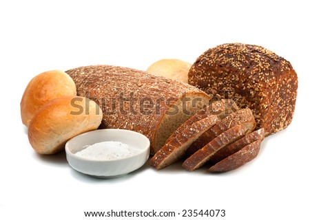loafs of whole wheat and  rye bread on light background - stock photo