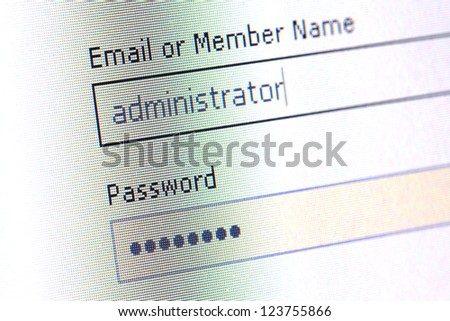 login username password , led monitor - stock photo