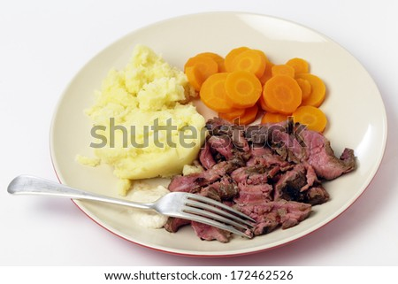 """London broil"" marinaded flank of beef steak grilled and sliced thinly, then served with mashed potato, boiled sliced carrots and horseradish sauce"