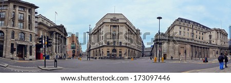 LONDON - JANUARY 4, 2012: Street on Bank Station on January 4, 2012 in London England, United Kingdom - stock photo