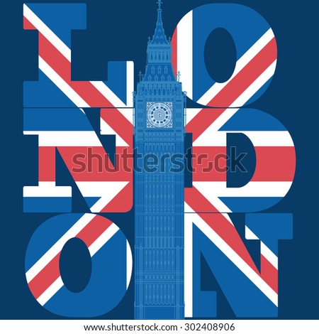 London T-shirt grunge design, London-city Typography Graphics, London jersey print  England, Great Britain London tee stamp, Big Ben, Attraction of the London - capital of  - stock photo