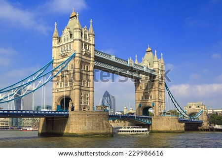 London Tower Bridge over the River Thames on a sunny day - stock photo