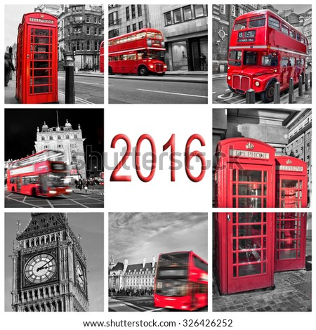 2016, London travel photos collage, black and white and red selective color - stock photo