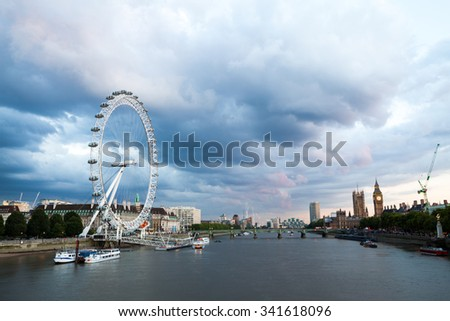 30. 07. 2015, LONDON , UK, London at dawn. View from Golden Jubilee bridge