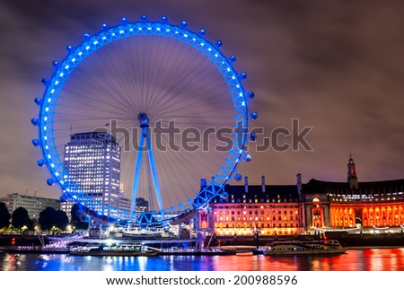 London - United Kingdom 3 october 2013: London Eye by Night on the River Thames. - stock photo