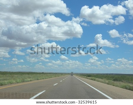 Lone trucker on open highway