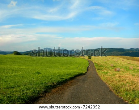 Lonely road in the fields in the country