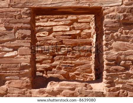 """""""Looking through the window, staring at the wall."""" Salinas, New Mexico - stock photo"""