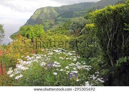 Lookout panorama Sao Miguel island Azores Portugal - stock photo