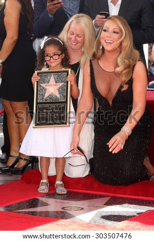 , LOS ANGELES - AUG 5:  Monroe Cannon, Mariah Carey at the Mariah Carey Hollywood Walk of Fame Ceremony at the W Hollywood on August 5, 2015 in Los Angeles, CA - stock photo