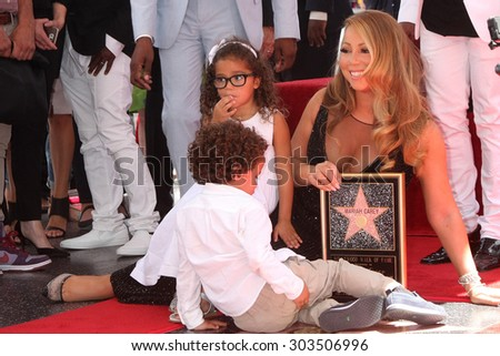 , LOS ANGELES - AUG 5:  Moroccan Cannon, Monroe Cannon, Mariah Carey at the Mariah Carey Hollywood Walk of Fame Ceremony at the W Hollywood on August 5, 2015 in Los Angeles, CA - stock photo