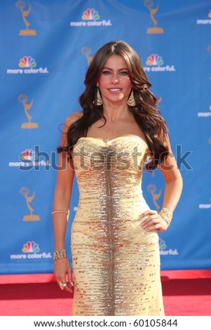 LOS ANGELES - AUG 29:  Sofia Vergara arrives at the 2010 Emmy Awards at Nokia Theater at LA Live on August 29, 2010 in Los Angeles, CA - stock photo