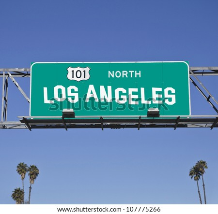 101 Los Angeles Freeway sign with hand made font. - stock photo