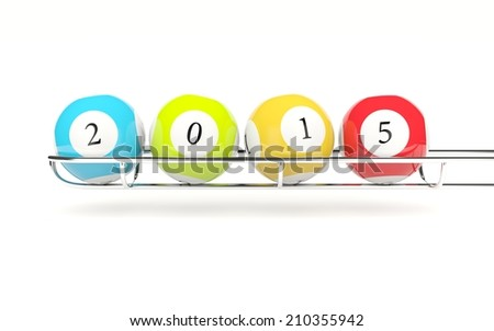 2015 lottery balls isolated on white - stock photo