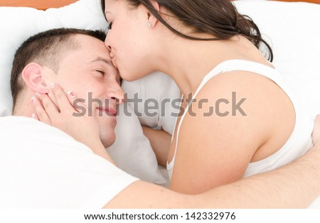 Love and eroticism in the bedroom. - stock photo