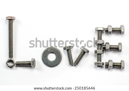 """""""LOVE"""" created from nuts, bolts and assorted hardware - stock photo"""