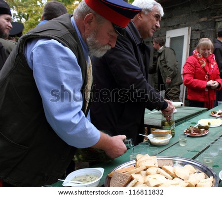 LUGANSK - OCT 14: Don Cossack's festive meal, celebration of the Protection of the Mother of God, Lugansk, Ukraine, October 14, 2012