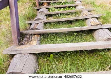 lying on the ground of an old wooden ladder, on which there are traces of the resolution and rotting's photos close-up - stock photo