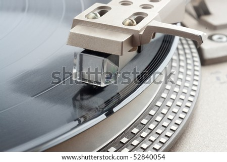 Macro shot of turntable cartridge - stock photo