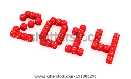 2014 made from red dice on the white background - stock photo