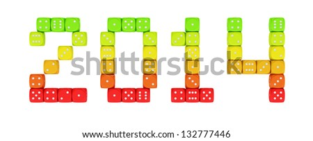 2014 made from vibrant energy dice on the white background - stock photo