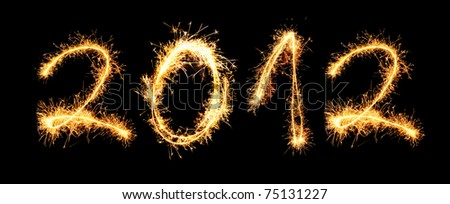 2012 made of sparkles. See other digits in my portfolio. - stock photo