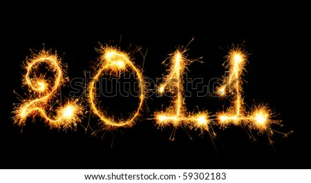 2011 made of sparks. A photo path bengal fires - stock photo