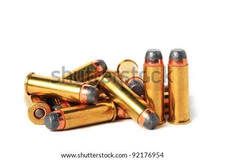 .44 Magnum ammo isolated. - stock photo