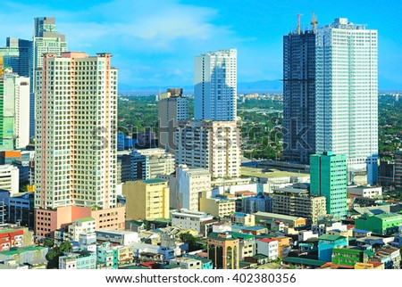Makati city architecture- is one of the 17 cities that make up Metro Manila. Philippines - stock photo