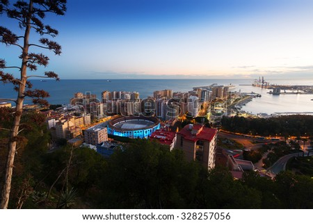 Malaga with Port and Placa de Torros from castle.   Spain - stock photo