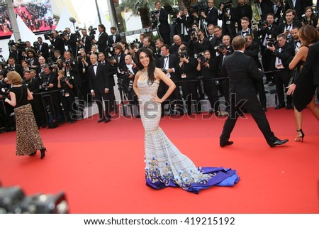 Mallika Sherawat attends the 'Cafe Society' premiere and the Opening Night Gala during the 69th Cannes Film Festival at the Palais des Festivals on May 11, 2016 in Cannes, France. - stock photo